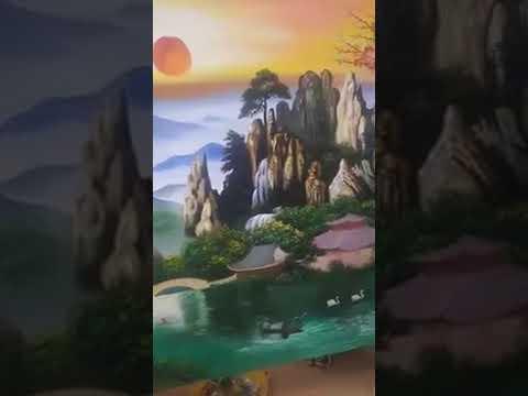 Vẽ tranh  treo tường phong cảnh núi non sơn thủy tại Gia Lâm, Hà Nội – Vẽ tranh nghệ thuật cực đẹp L
