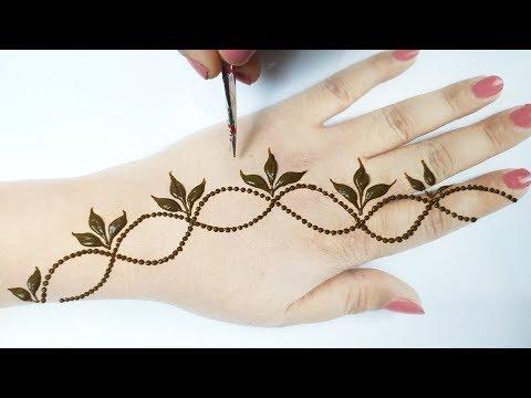 आसान गोल टिक्की मेहँदी डिज़ाइन लगाना सीखे - Beautiful Mehndi Step by step - Valentine Special Mehndi