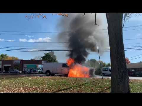 Watch: Van in traffic catches fire, explodes on Route 10 in Easthampton