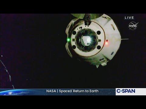 NASAÂ SpaceXÂ Crew Return Dragon Undocking from International Space Station