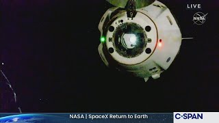 NASA SpaceX Crew Return Dragon Undocking from International Space Station