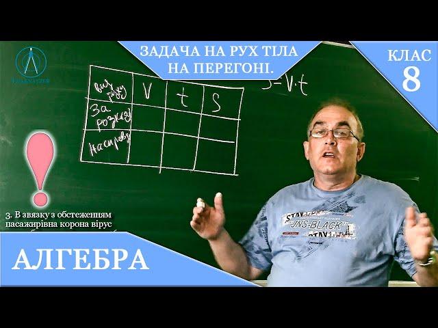 8 клас. Алгебра. Задача на рух тіла НА ПЕРЕГОНІ.