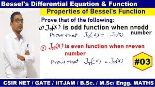 #03 Even Bessels Function in hindi | Odd Bessel's function | Properties of Bessel's Function