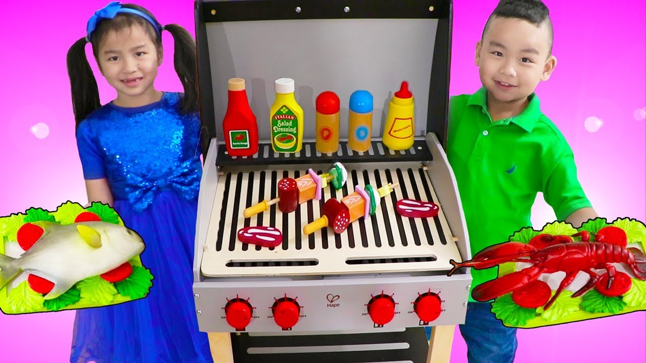 Jannie Lyndon Pretend Play Cooking W Deluxe Barbecue Bbq Grill Playset Youtube