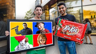 Download Giving People GIANT CANDY If They Guess The Horror Character... Mp3 and Videos