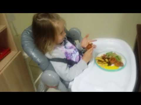 2017 11 03 17 45 26 1. My 6 year old having dinner in her high chair at her daddy's house.