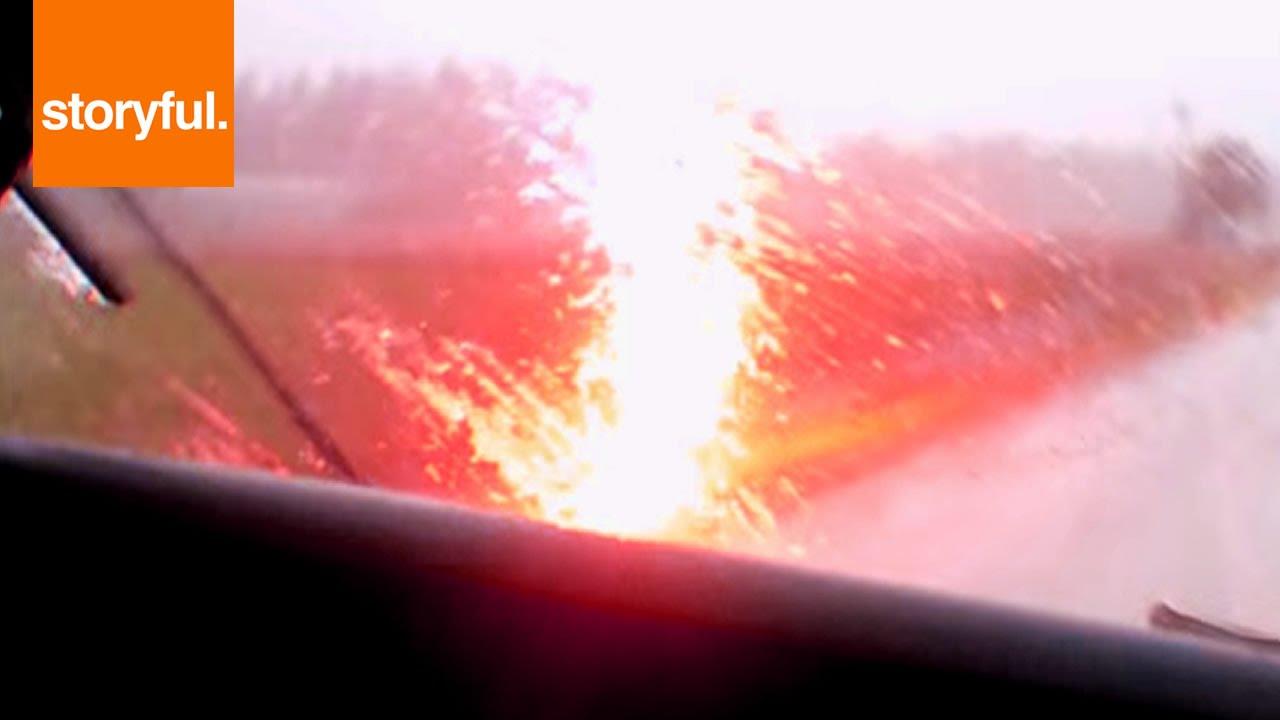 Lightning Strikes Car While Driving