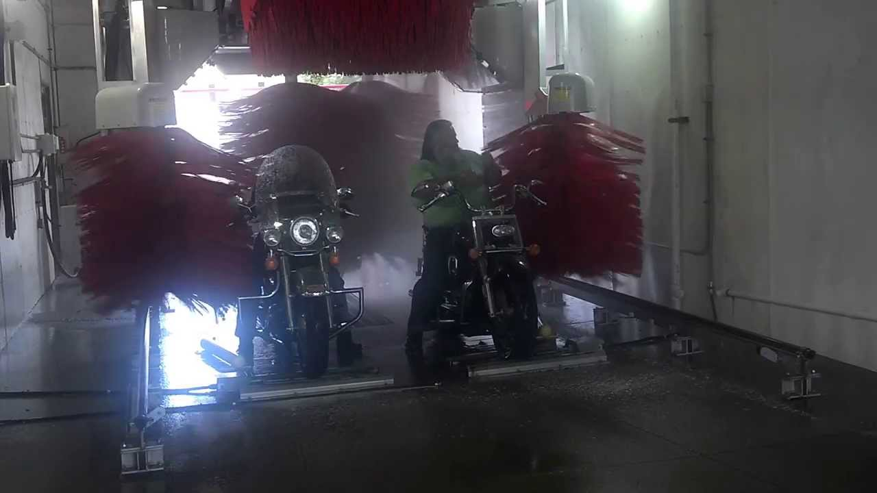 Motorcycles In A Car Wash With Brushes Youtube