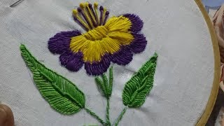 Hand Embroidery Flower Design Long Stitch By Amma Arts