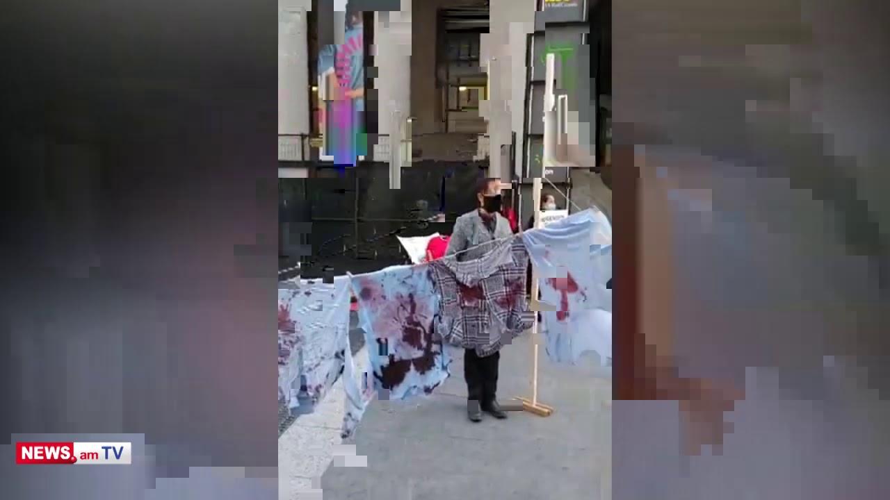 Տեսանյութ.«Կանադա, խոսիր»..Տորոնտոյում հայերն «արյունոտ» լվացք են փռել փողոցում.հայերի ազդեցիկ լուռ ակցիան