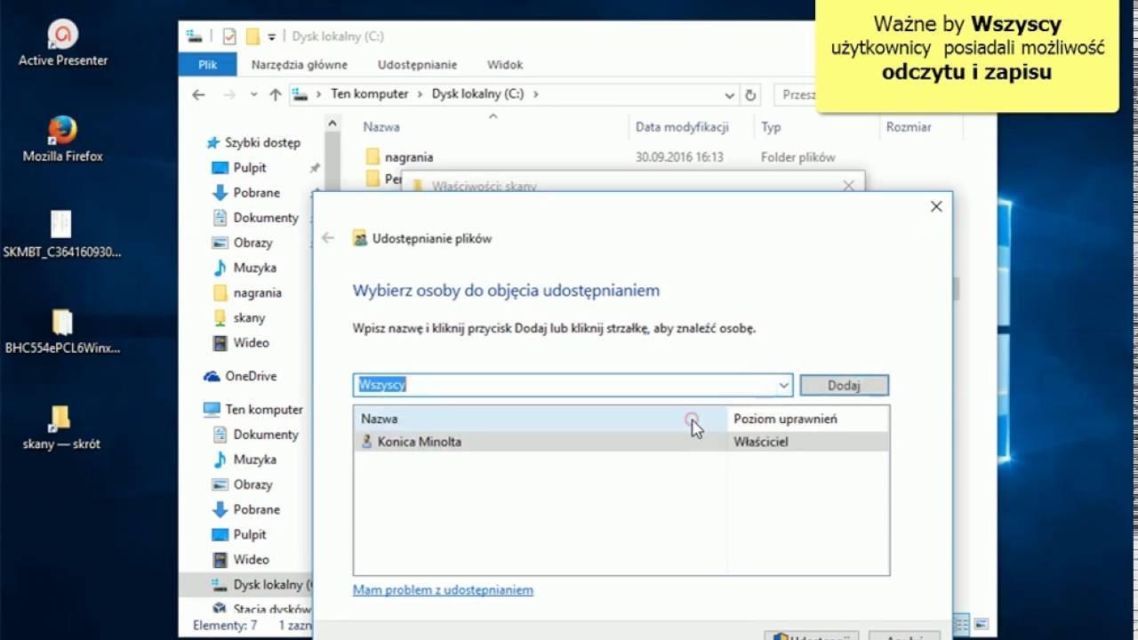 Konfiguracja skanowania do folderu Konica Minolta Windows 10 (SMB)