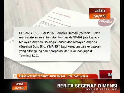 AirAsia tuntut ganti rugi RM409 juta dari MAHB