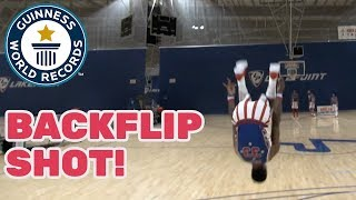 Harlem Globetrotters: Farthest backflip basketball shot - Guinness World Records Day 2018