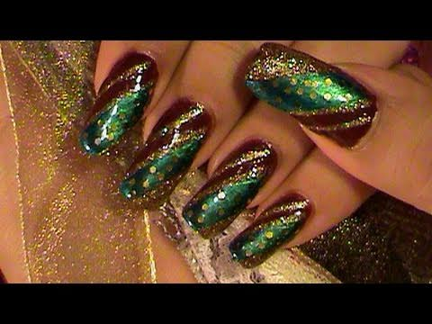 Easy Green Gold Amp Burgundy Nail Art Design Tutorial Youtube