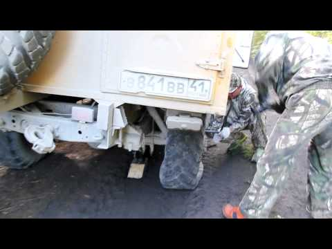 Changing a flat tire in the wilds of Kamchatka Peninsula, Russia