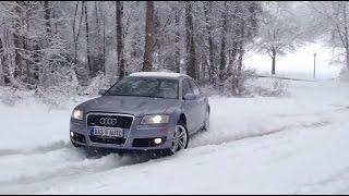 Audi A8 Quattro 4.2 V8 vs. BMW X5 Snow Ice Uphill Test