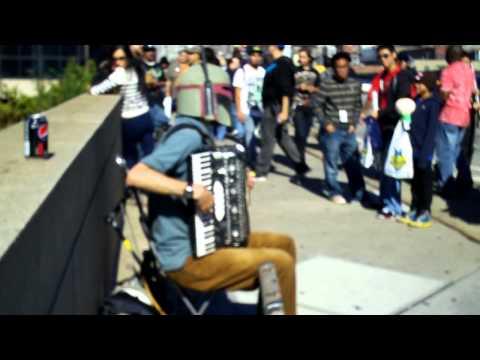 accordion music outside NY Anime Fest
