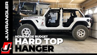 Jeep JL Wrangler HARD TOP HOIST - DIY Homemade Ceiling Hanger on a BUDGET