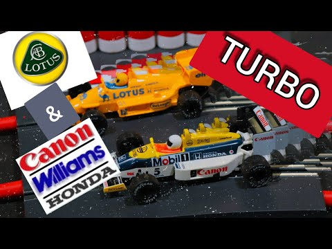 scalextric Williams and lotus turbo powered slot cars