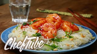 How to Make Sweet And Sour Shrimp On Fine Chinese Noodle Salad - Recipe in description
