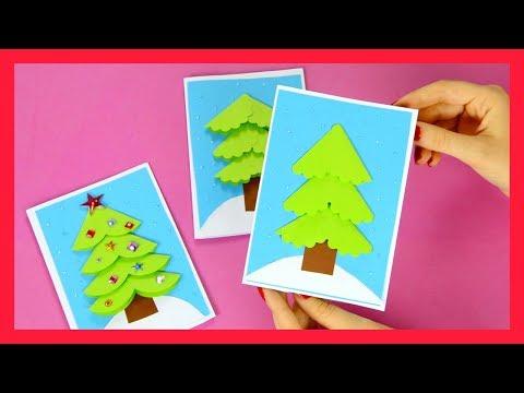 Paper Circle DIY Christmas Card Idea for Kids