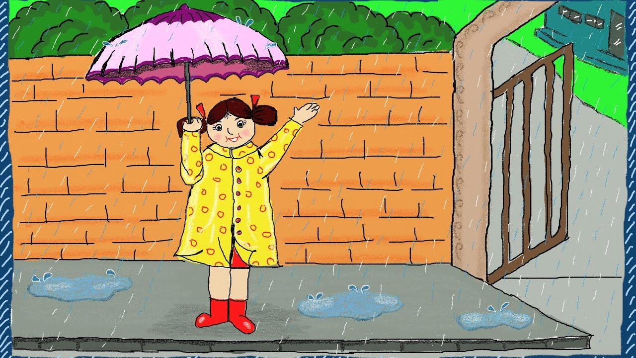 Drawing a simple Rainy Day | How to draw a Rainy Day ... Rainy Day Drawing Competition