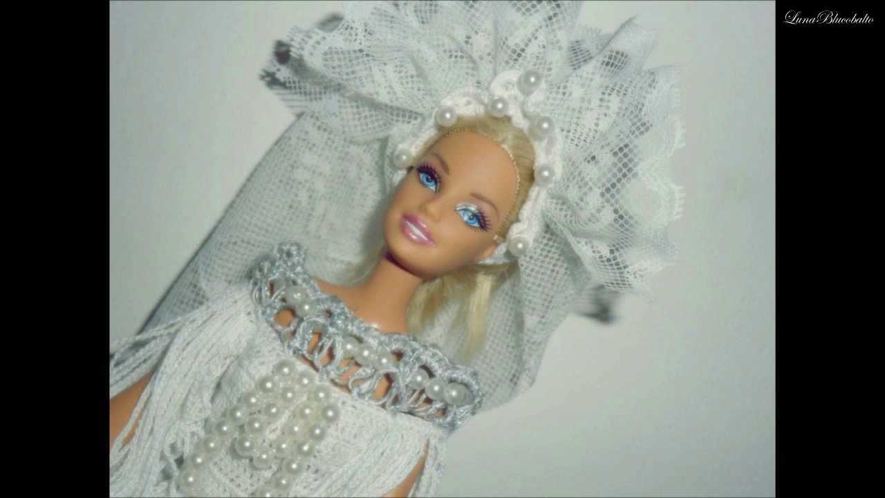 Abiti Da Sposa Uncinetto.Lavori Artistici All Uncinetto Abito Da Sposa Per Barbie Youtube