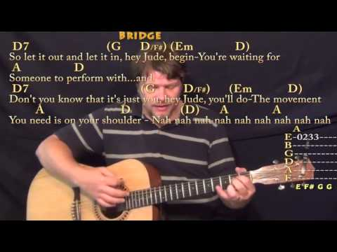 Hey Jude (The Beatles) Strum Guitar Cover Lesson in D with Chords/Lyrics