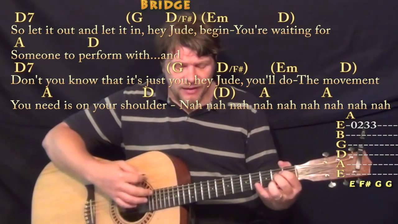 Hey Jude The Beatles Strum Guitar Cover Lesson In D With Chords