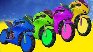 Мультики про цветные Мотоциклы и Велосипеды для Детей Супергерои Прыжки в Воду Учим цвета
