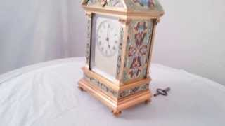 Antique French Champleve Enamel Striking Mantel Clock