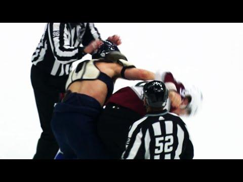 Brayden Schenn loses his jersey in fight with Gabriel Landeskog at start of game