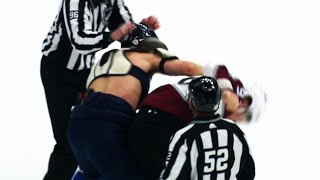 Brayden Schenn loses his jersey in fight with Gabriel Landeskog at start of game