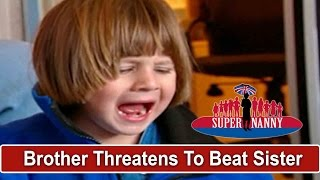 Brother Threatens To Beat Sister While Dad Sits On Computer | Supernanny