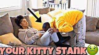 """YOUR KITTY STANK"" PRANK ON WIFE!!"