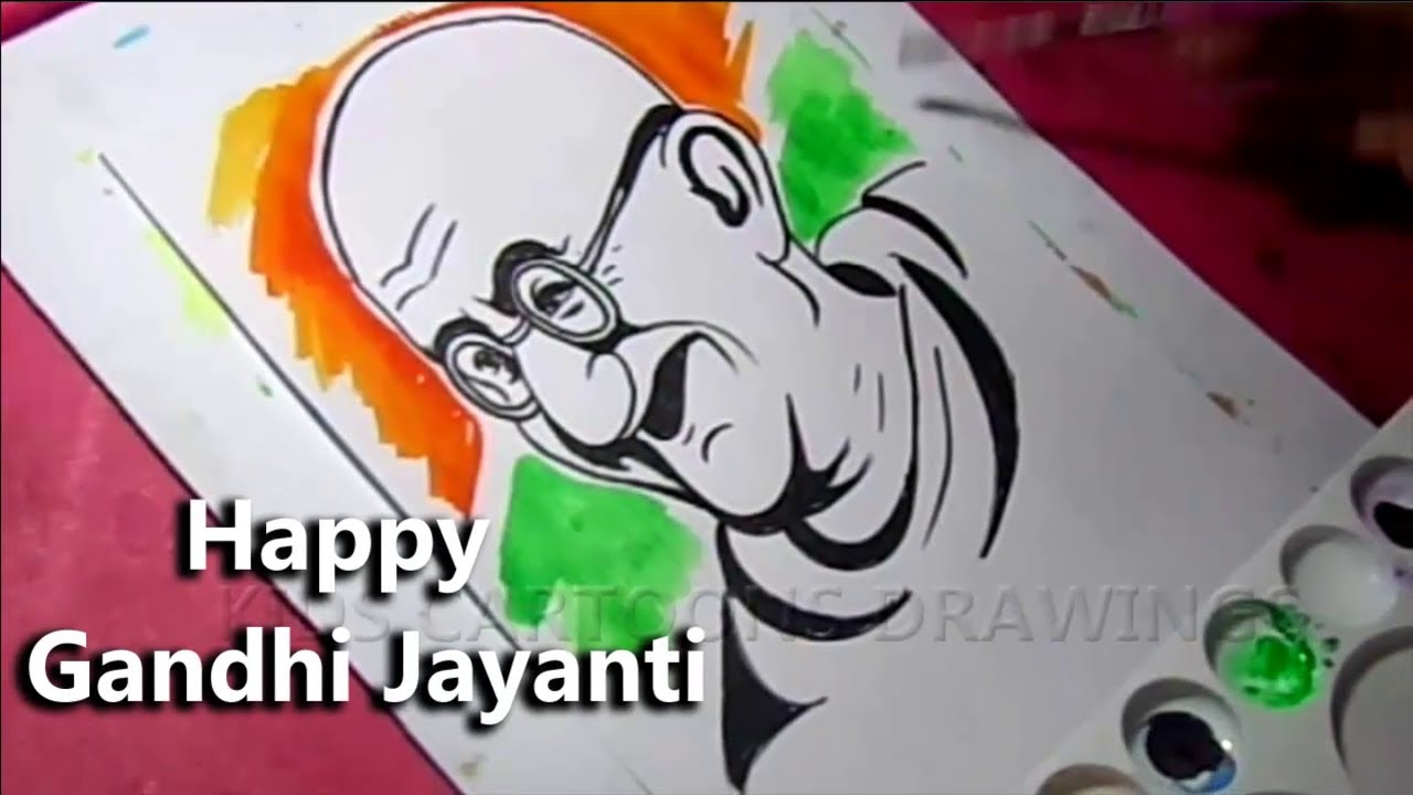 How to Draw Mahatma Gandhi Jayanti Poster Drawing / 2 October Gandhi Jayanti Drawing