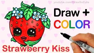 How to Draw + Color Shopkins Strawberry Kiss step by step Cute Season 1