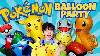 Pokemon BIG BALLOON PARTY! Inflating our Pokemon balloon bouquet DIY! 2019 gotta catch em all