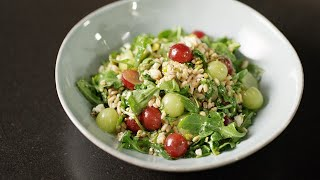Farro Salad with Red Grapes, Pistachios, Feta Cheese, and Red Wine Vinaigrette