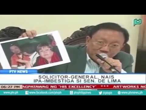 [PTVNews-6pm] Solicitor-General, nais imbestigahan si Den. De Lima [07|21|16]