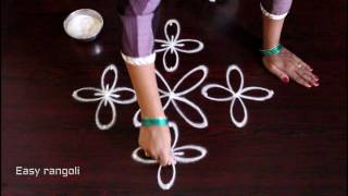 kolam with 7x1 straight dots || muggulu designs || easy rangoli designs with dots