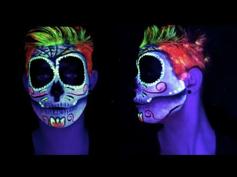 maquillage fluo dia de muertos makeup neon halloween. Black Bedroom Furniture Sets. Home Design Ideas