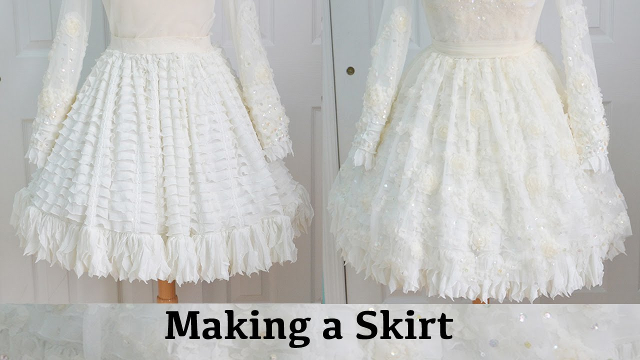 Making a Skirt : The Fluffy Feathered Dress, Part One - YouTube