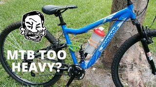 Is your MTB too heavy? Probably not(Look familiar? We torture tested this Walmart Mongoose back in October, and since then I've made a few little improvements. Even the front wheel is straight now ..., 2016-05-22T05:00:04.000Z)
