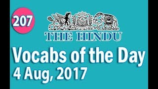 ✅ Daily The Hindu  Vocabulary (4 Aug, 2017) - Learn 10 New Words with Tricks | Day-207