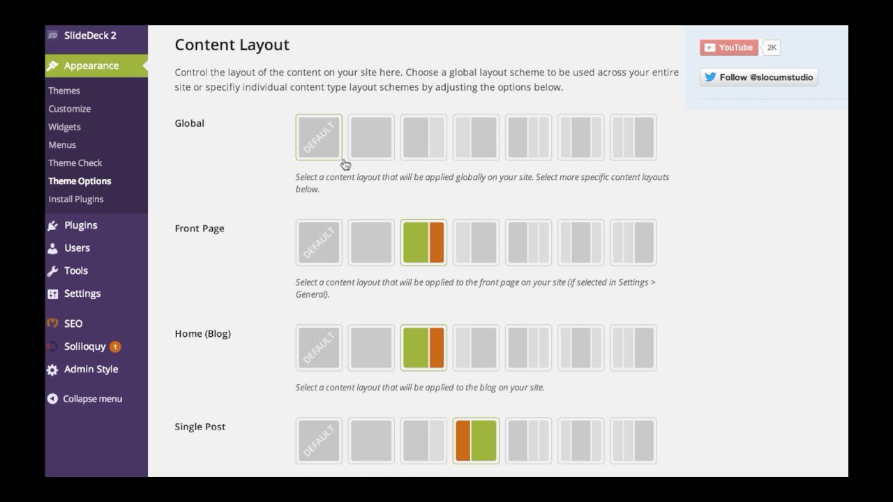 change a page layout on wordpress slocum themes youtube