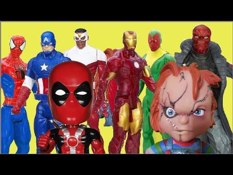 Homem Aranha Homem de Ferro Capitão America Visão Falcão Deadpool  Caveira Vermelha Marvel Chucky