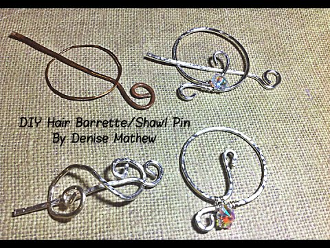 How to Make a DIY Hammered Wire Hair Barrette or Shawl Pin by Denise Mathew