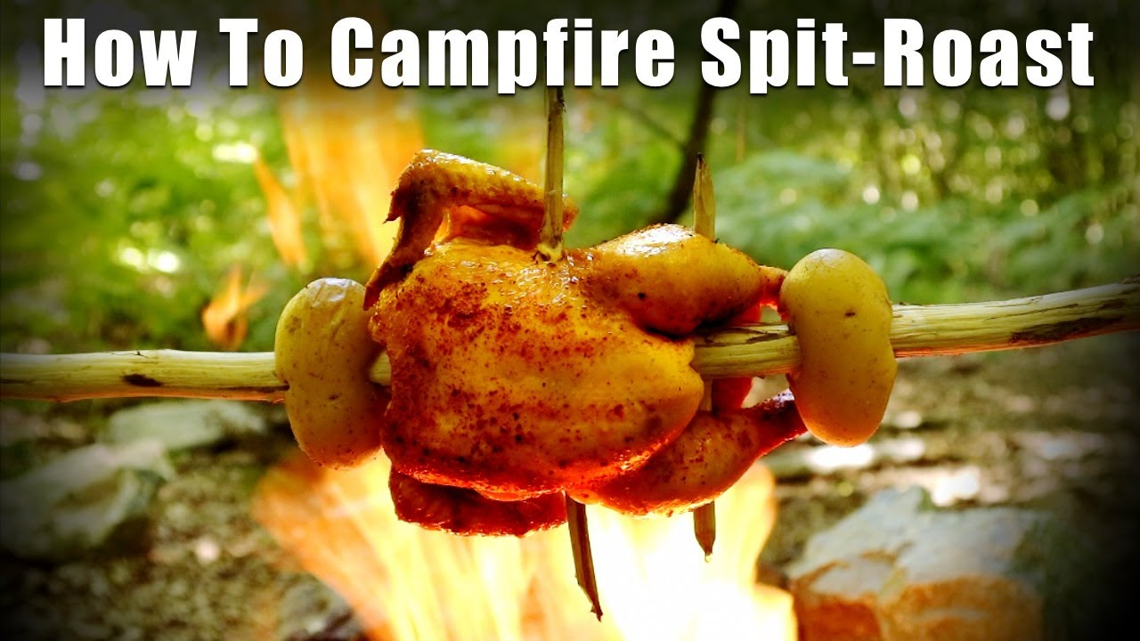 How to Spit-Roast Meat over a Camp Fire