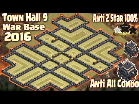 Coc Th9 Best War Base Anti 2 star 100%. New Update Town Hall 9 Clash of Clans 2016.